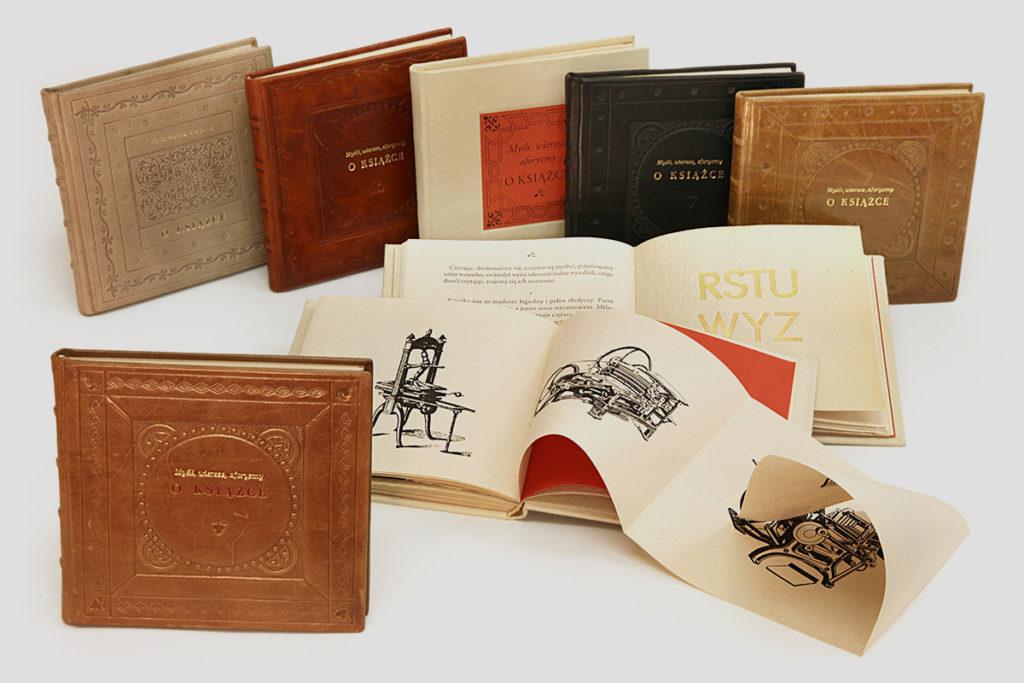Aforyzmy o książce bibliofilska edycja, oryginalna oprawa introligatorska, książka artystyczna.