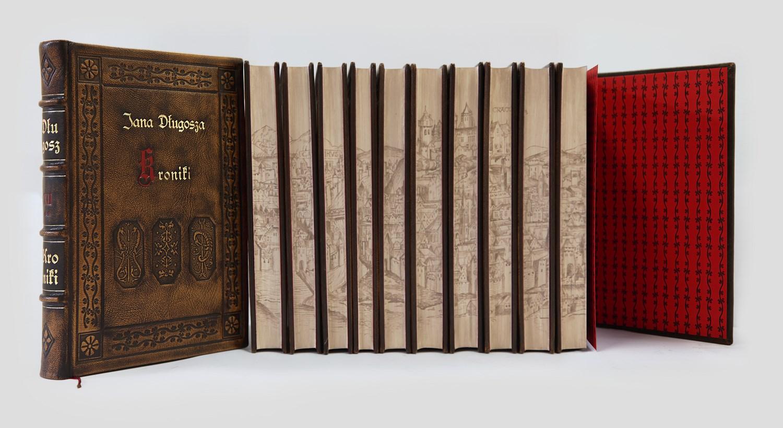 Kroniki Jana Długosza -ekskluzywne oprawy introligatorskie w skórę. Piękne książki do biblioteki gabinetowej.