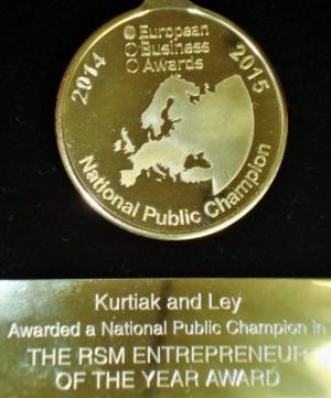 Medal dla najlepszego przedsiębiorcy National Public Champion European Business Awards 2015