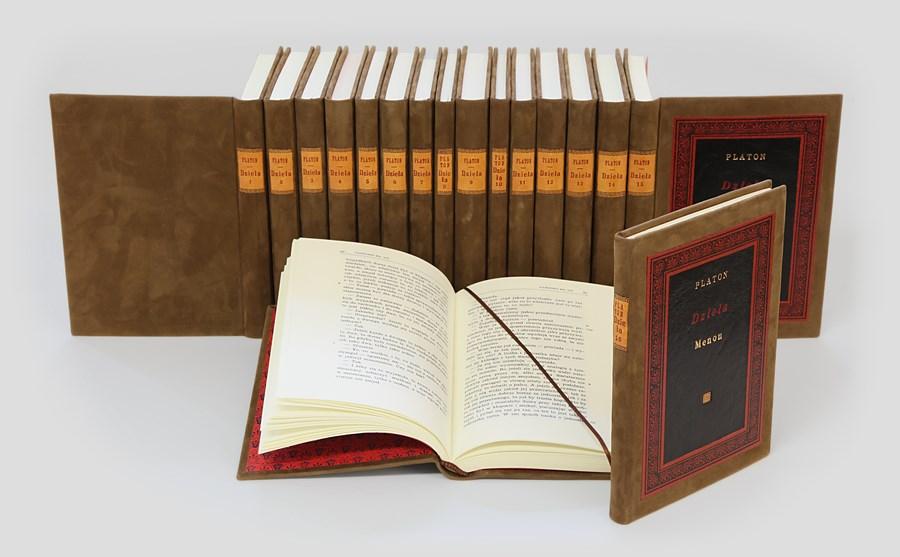 Platon Dzieła w ekskluzywnej oprawie introligatorskiej. Oprawa intarsjowana. Zastosowano 3 gatunki skór. Komplet do biblioteki gabinetowej.