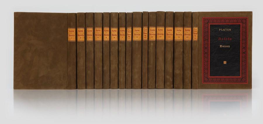 Platon Dzieła w luksusowej oprawie introligatorskiej. Oprawa intarsjowana. Zastosowano 3 gatunki skór