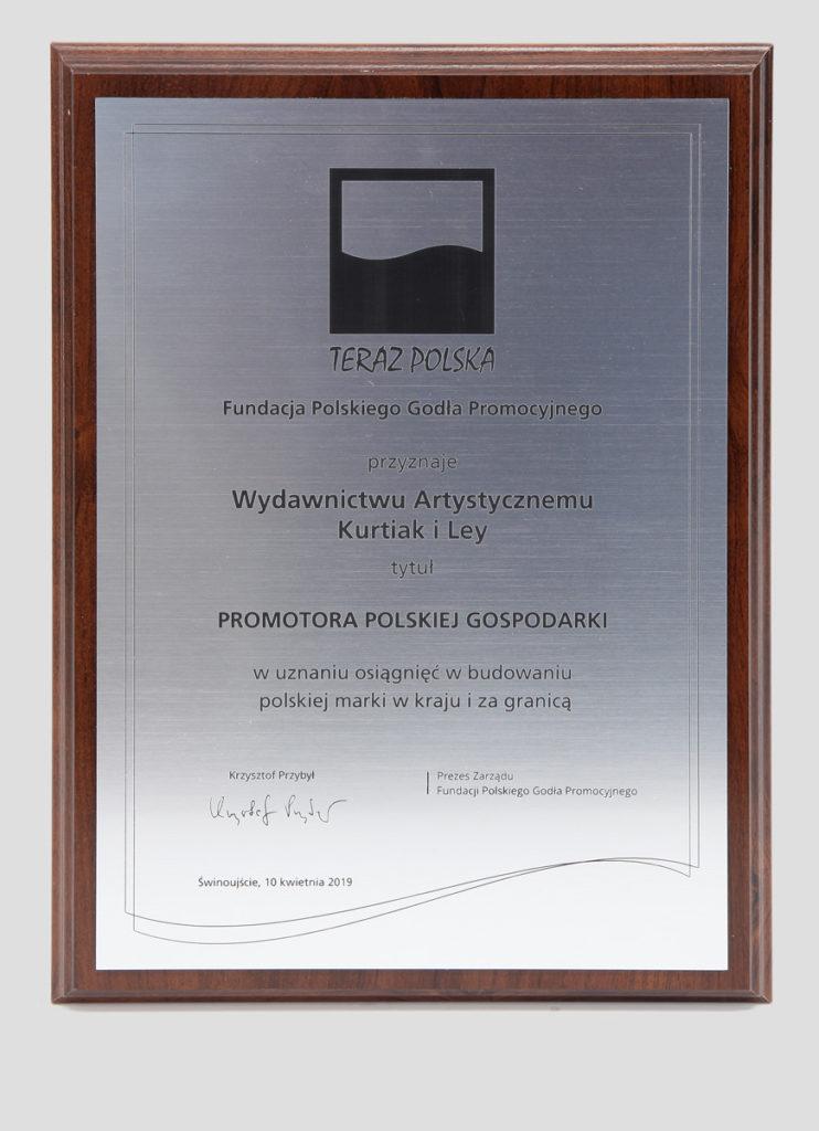 Promotor Polskiej Gospodarki nagroda dla Wydawnictwa Artystycznego Kurtiak i Ley
