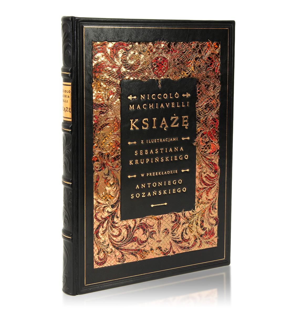 Książę, Niccolò Machiavelli, książka artystyczna oprawa w skórę ze złoconą intarsją