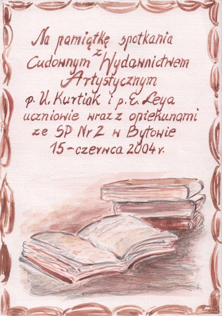 Dyplom pamiątkowy SP nr 2 w Bytowie