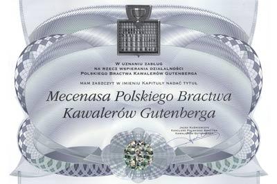 mecenas polskiego bractwa kawalerów gutenberga