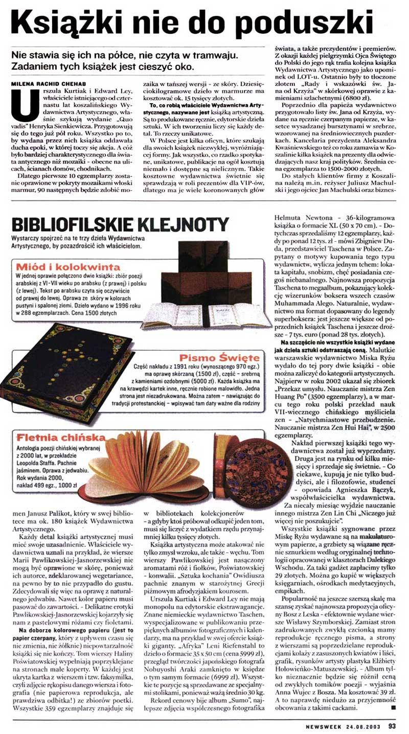 Newsweek. 24.08.2003r. Książki nie do poduszki. (Milena Rachid Chehab)