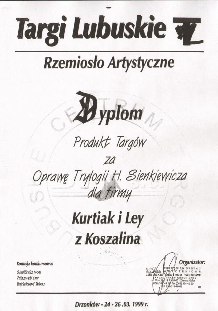 Nagroda za kolekcjonerską edycję Trylogii H. Sienkiewicza   Targi Lubuskie1999