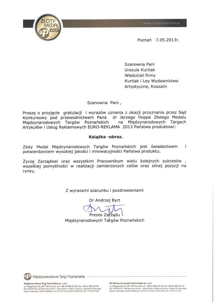 MTP - Złoty Medal Książki Wyd. Kurtiak i Ley
