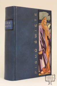 Biblia-Pismo Święte Starego i Nowego Testamentu, oprawa unikatowa w skórę z intarsjami i malowidłem, przedstawiającymi Mojżesza
