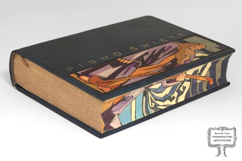 Biblia-Pismo Święte Starego i Nowego Testamentu, oprawa unikatowa w skórze z intarsjami i malowidłem, przedstawiającymi Mojżesza
