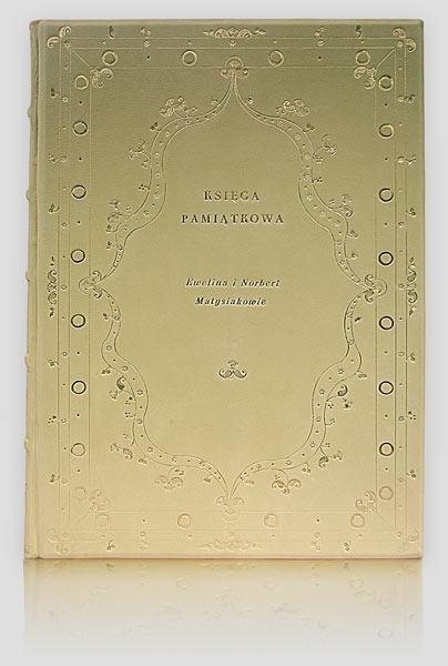 Pamiątkowa księga ślubnych życzeń wpisywanych przez gości weselnych, kronika skórzana