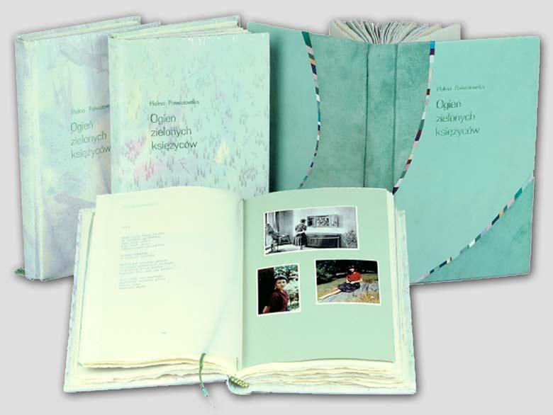 Poświatowska Halina Ogień zielonych księżyców. Edycja kolekcjonerska. Artystyczne oprawy w jedwab i skórę.