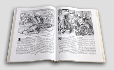 Pismo Święte w obrazach. Ilustracje prezentujące historię Dawida, w tym walke z Goliatem.