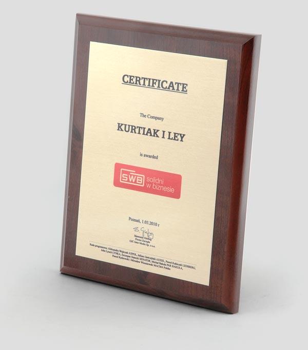 Solidni w Biznesie, Certyfikat