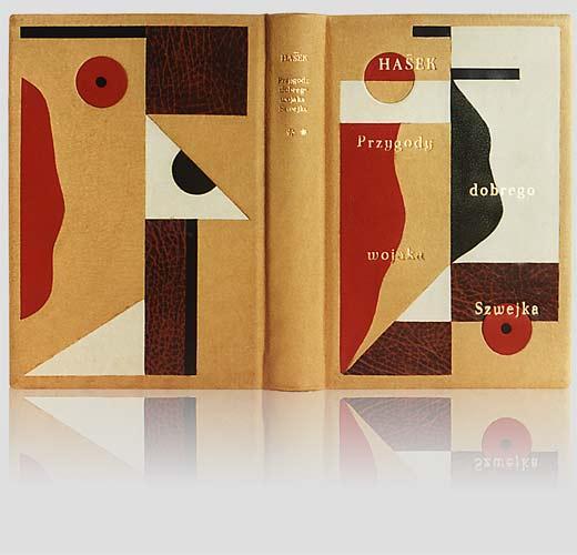"""Hašek """"Przygody dobrego wojaka Szwejka podczas wojny światowej"""" — artystyczna oprawa książki, Wydawnictwo i Introligatornia Artystyczna Kurtiak i Ley w Koszalinie"""