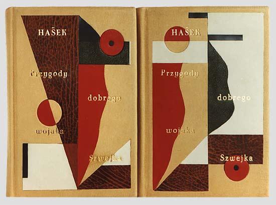 """Hašek """"Przygody dobrego wojaka Szwejka podczas wojny światowej"""" — artystyczna oprawa książki, Wydawnictwo i Introligatornia Artystyczna Kurtiak i Ley w Koszalinie."""