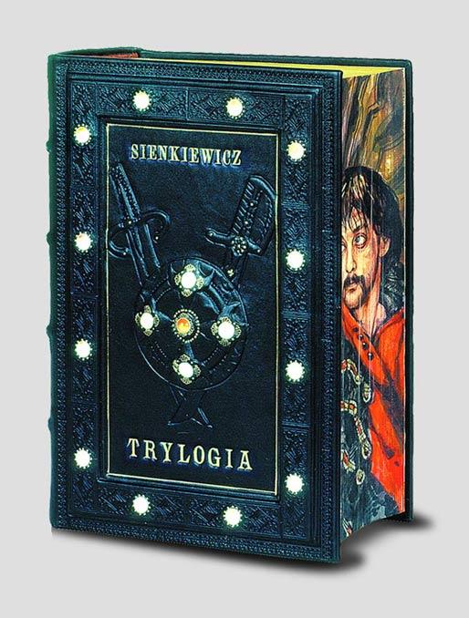 Trylogia Sienkiewicza, artystyczna książka luksusowa z malowanym brzegiem