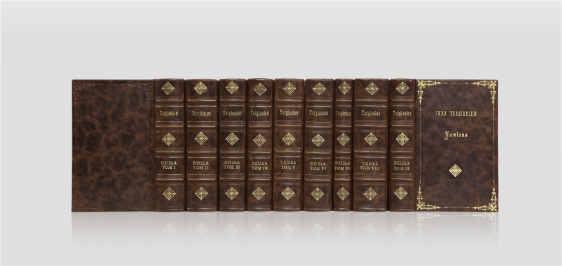 Turgenev Ivan, Works - collector's edition - home library - luxurious bookbinding - classic style leather binding - artist's book