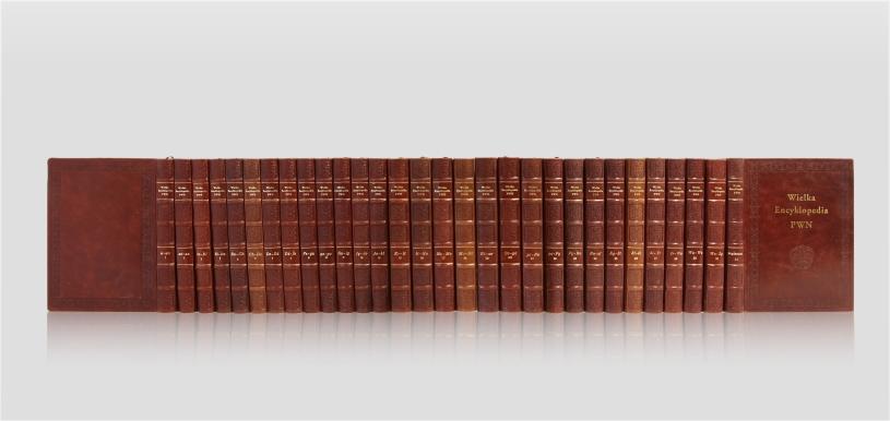 Wielka Encyklopedia . Ręczna oprawa skórzana